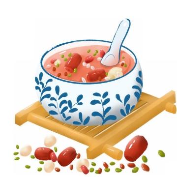 彩绘风格红枣莲子腊八粥八宝粥养生粥腊八节传统美食图片免抠png素材