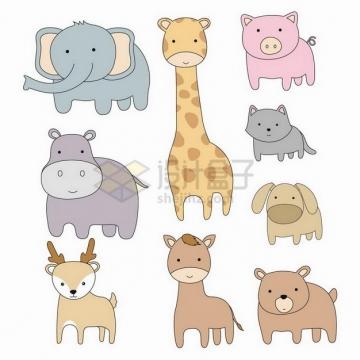 卡通大象河马长颈鹿小猪小狗小鹿小熊等可爱动物png图片免抠矢量素材