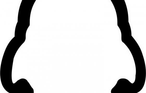 高清透明背景黑线条QQ图标LOGO图片免抠素材