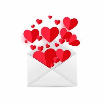 打开的信封中飞出的红心红色心形符号图案png图片免抠eps矢量素材