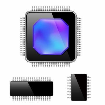 3种形状的集成电路CPU处理器png图片免抠矢量素材