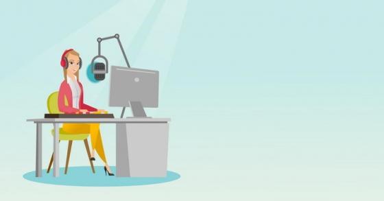 卡通电台主持人DJ女主播图片免抠素材