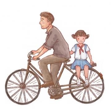 彩绘爸爸骑自行车带着女儿出行父亲节673195png图片素材