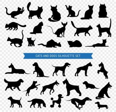 各种猫咪狗狗宠物剪影图片大全免抠素材