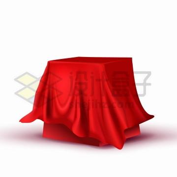 红布盖住的方形桌面展台png图片免抠矢量素材