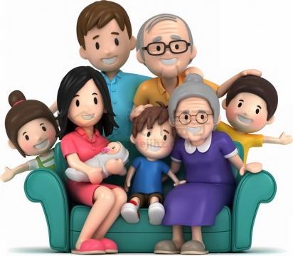 卡通坐在沙发上合影的一家人国际家庭日png图片素材
