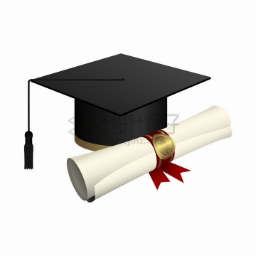 博士帽学士帽毕业证书大学毕业季png图片素材