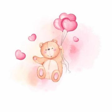 卡通玩具小熊抓着粉红色的心形气球红心png图片免抠eps矢量素材