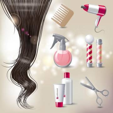 亮丽的秀发头发和梳子电吹风剪刀美发店花柱图片免抠矢量素材