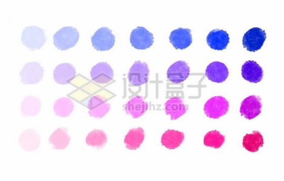 28种颜色彩色涂鸦污渍效果水彩png图片免抠矢量素材