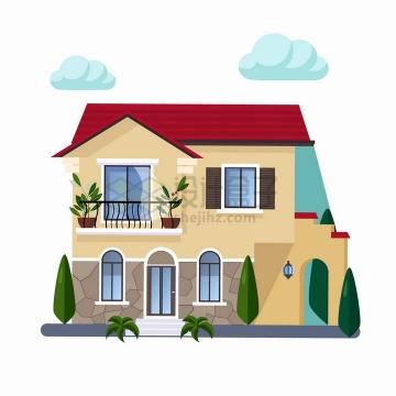阳台上种花的二层别墅扁平化房子png图片免抠矢量素材