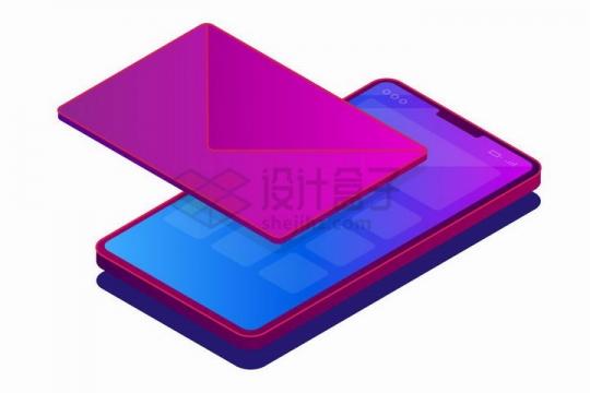 2.5D风格紫红色手机上的立体邮件电子邮件png图片免抠矢量素材