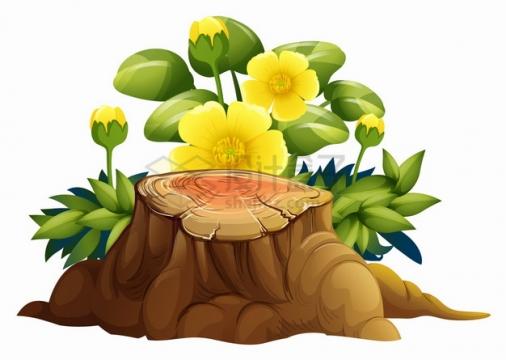 卡通树桩和黄色花朵灌木丛png图片素材