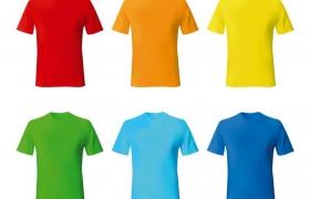 6种颜色的T恤夏天衣服免抠矢量图素材