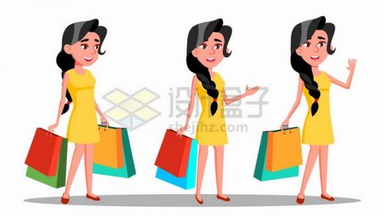 拎着购物袋刚买到衣服的卡通时髦女郎png图片免抠矢量素材
