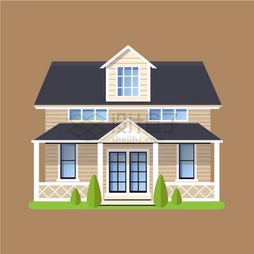 带阁楼的二层别墅扁平化房子png图片免抠矢量素材