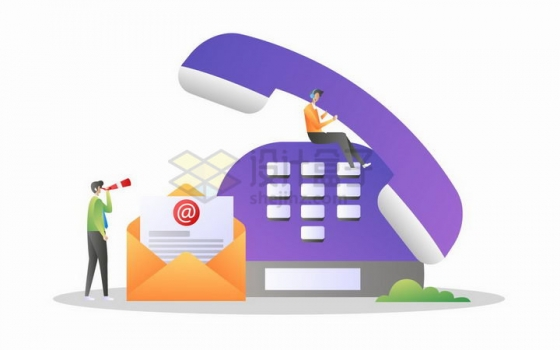 商务人士坐在紫色电话机上收发邮件象征了客服系统png图片免抠矢量素材
