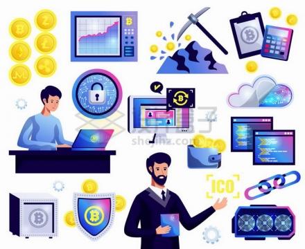 插画风格比特币挖矿服务器等虚拟货币元素png图片免抠矢量素材
