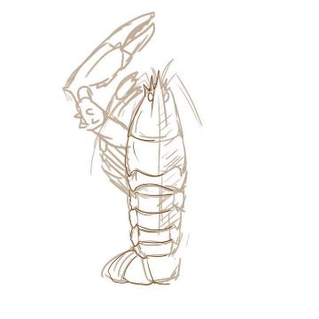 手绘涂鸦线条风格龙虾简笔画图片免抠素材
