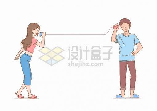 用纸杯电话的男孩女孩卡通插画png图片素材