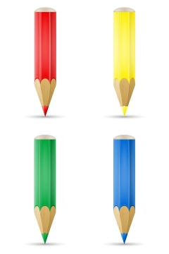 四种颜色的铅笔卡通铅笔画笔学习用品文具免抠矢量图片素材