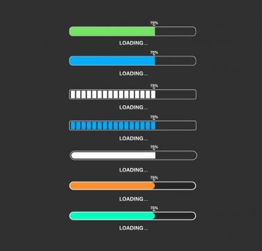 7款彩色风格加载进度条loading画面设计png图片免抠eps矢量素材