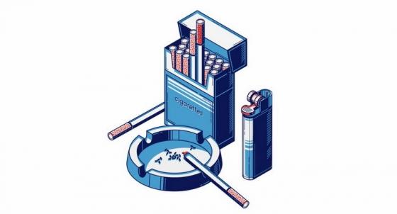 2.5D风格香烟和烟灰缸打火机png图片免抠矢量素材