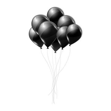 黑色风格一束气球图片免抠矢量素材