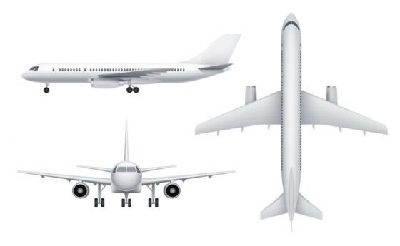 3种不同角度的银白色大型客机飞机图片免抠素材