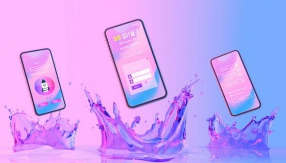 激起水花的全面屏手机显示界面psd样机图片模板素材