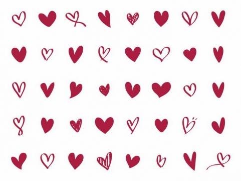 40款简约的手绘红心心形符号图案png图片免抠eps矢量素材