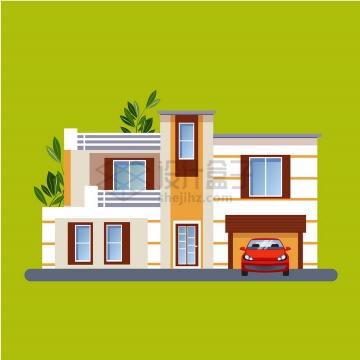 带车库的比较有设计感的别墅扁平化房子png图片免抠矢量素材