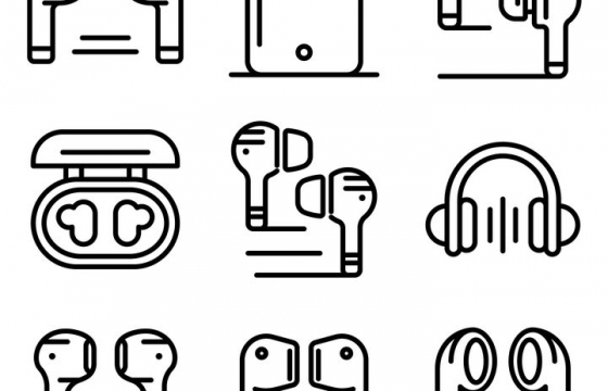 MBE风格苹果AirPods无线耳机线条图标图片免抠素材