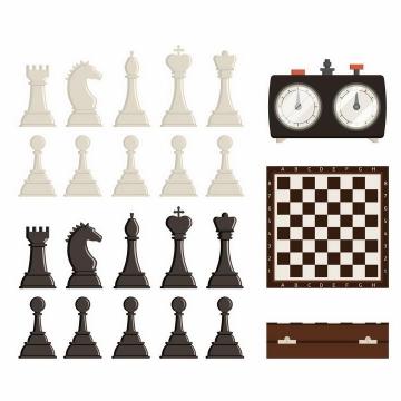 黑白色国际象棋棋子和西洋棋棋盘png图片免抠矢量素材