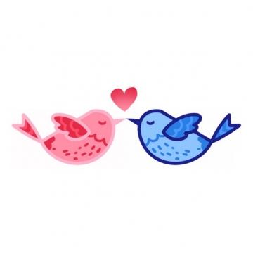 红色和蓝色卡通小鸟亲吻情人节插画906837png图片素材