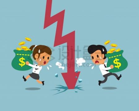 卡通商务人士拿着钱袋子躲避经济危机的红色箭头png图片素材