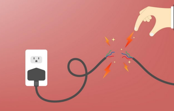 扁平插画风格电线漏电小心触电安全用电png图片免抠eps矢量素材