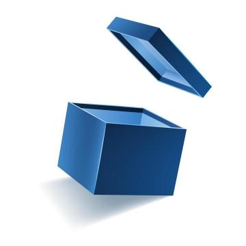 盖子拿开的蓝色盒子礼品盒免抠矢量图素材