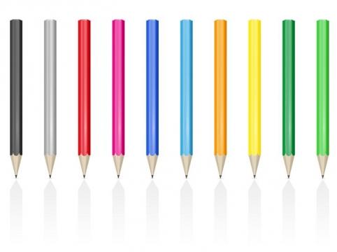 10种不同颜色的铅笔画笔学习用品文具免抠矢量图片素材