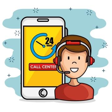 卡通风格24小时手机在线技术支持服务客服图片免抠素材