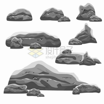 各种灰色的石块石头png图片素材