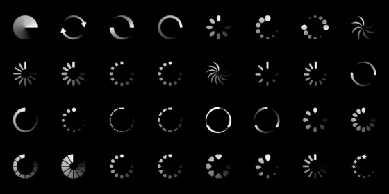 32款白色环形等待界面loading画面设计png图片免抠eps矢量素材