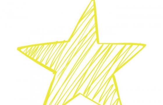 手绘涂鸦风格黄色线条五角星图案免抠矢量图片素材