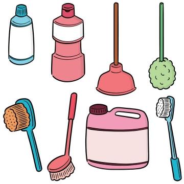 手绘彩色简笔画风格洗涤剂刷子皮搋子图片免抠素材