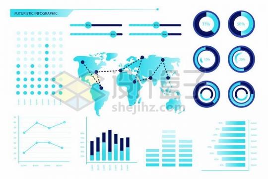 唯美风格蓝色条形图世界地图柱形图折线图等PPT数据图表png图片免抠矢量素材