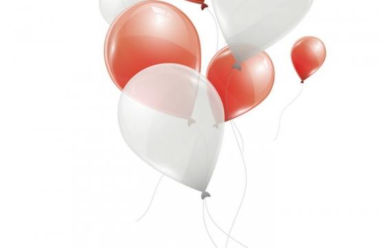 红色和白色气球装饰物图片免抠矢量素材