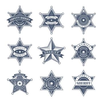 9款苏联共产风格五角星六角形徽章设计方案图片免抠矢量素材
