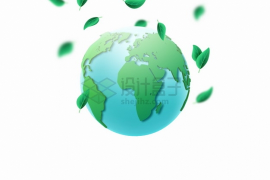 绿色的地球模型和飘落的树叶世界环境日世界环保日png图片素材