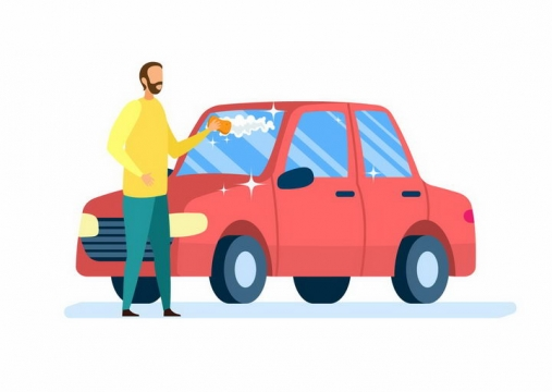 扁平插画风格正在洗车的男子png图片免抠矢量素材