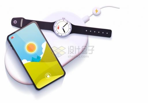 无线充电器上的手机和智能手表852773png图片素材